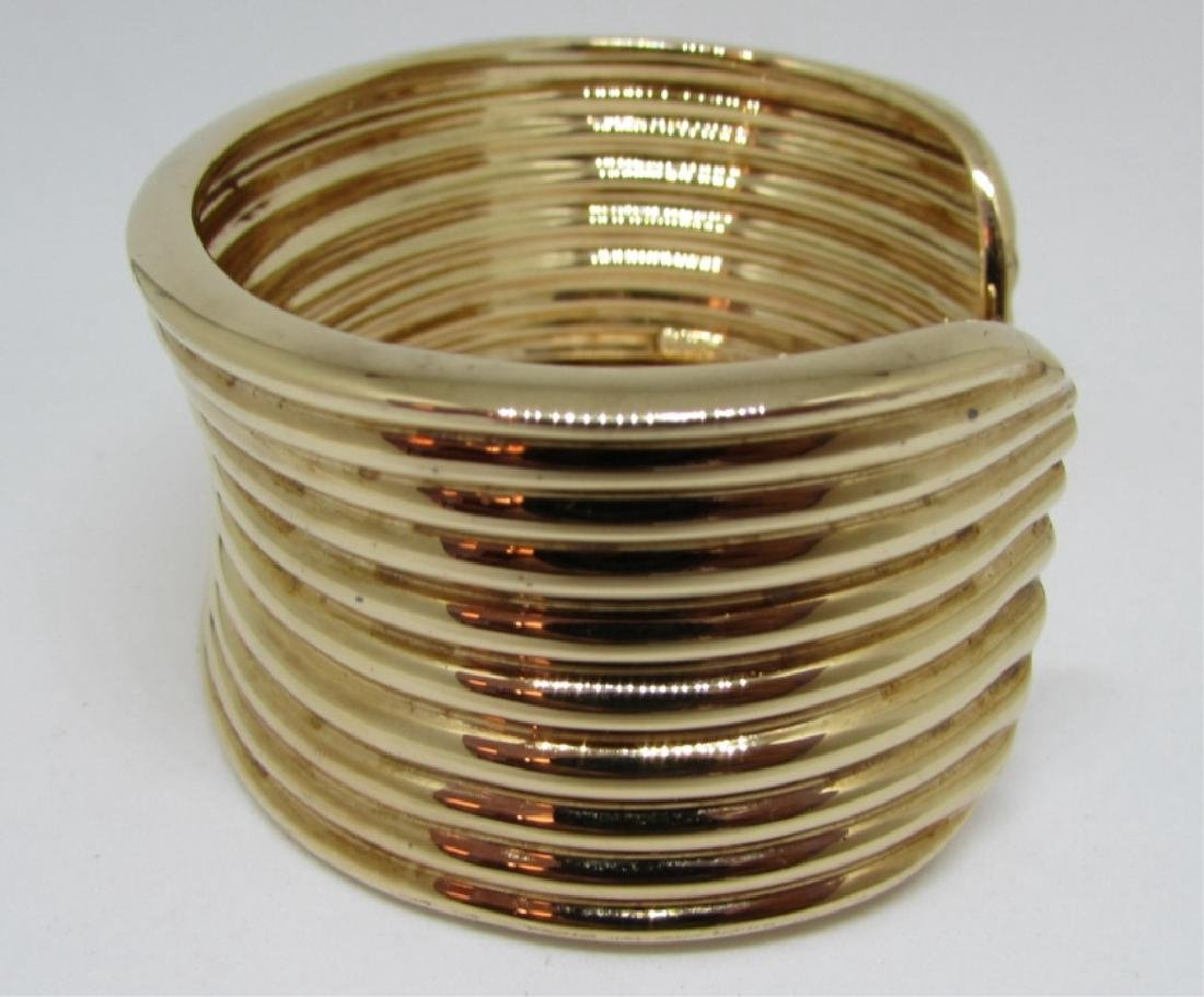 GOLD ON STERLING SILVER CUFF BRACELET BANGLE - 4