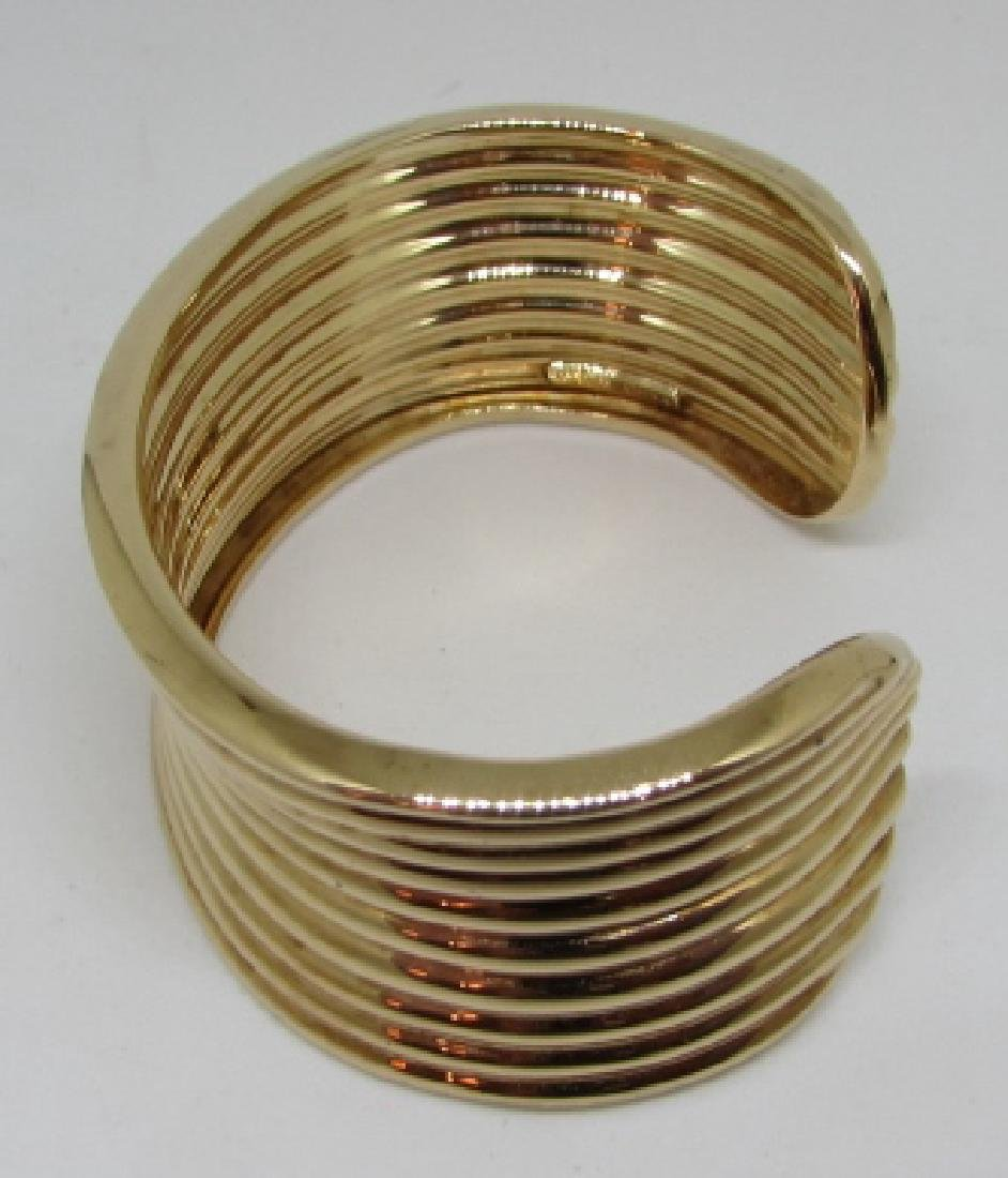 GOLD ON STERLING SILVER CUFF BRACELET BANGLE - 5