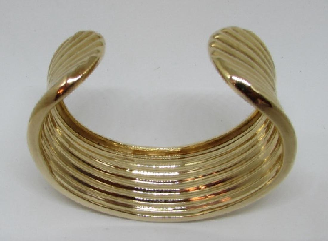 GOLD ON STERLING SILVER CUFF BRACELET BANGLE - 6