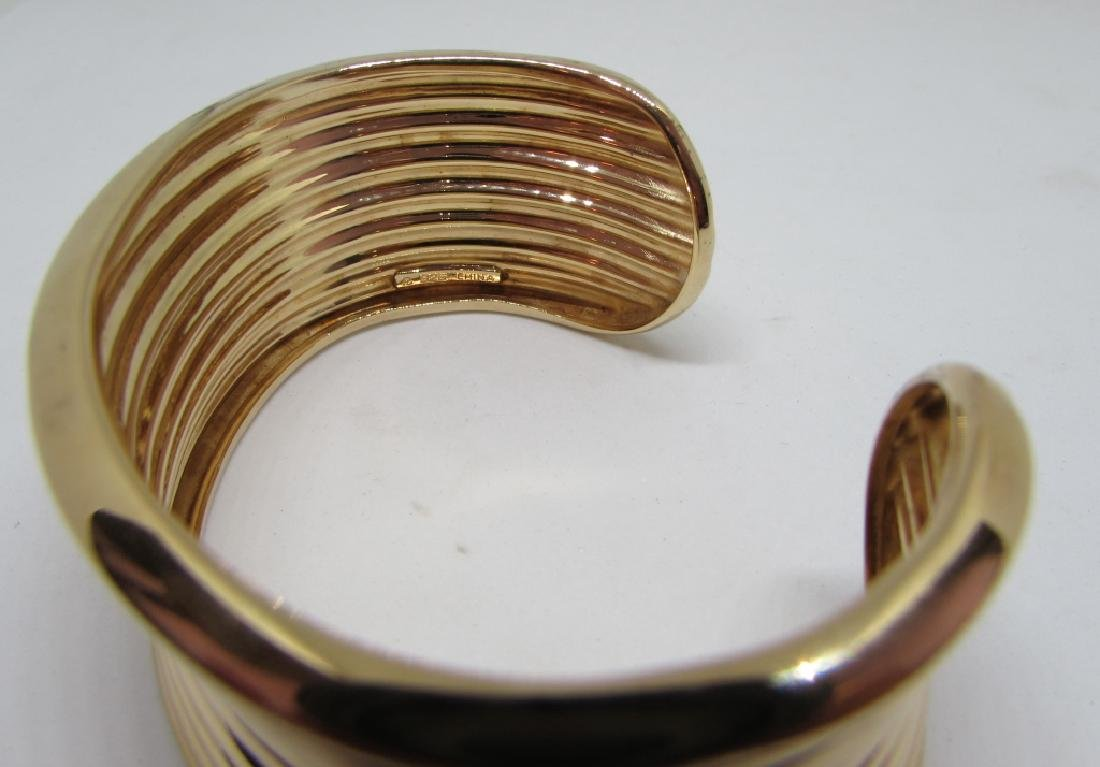GOLD ON STERLING SILVER CUFF BRACELET BANGLE - 7