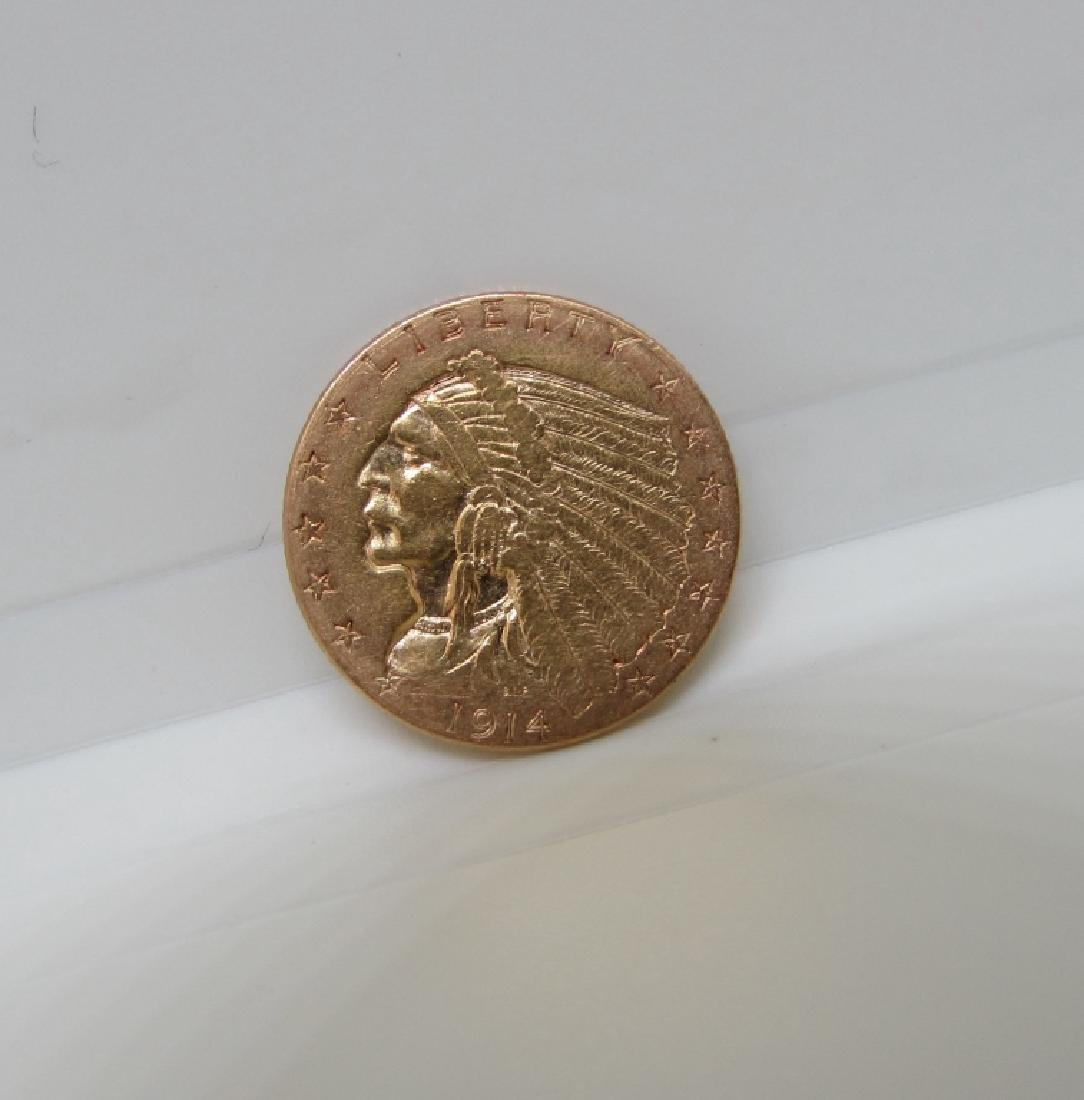 1914 US 2 1/2 DOLLAR GOLD INDIAN COIN
