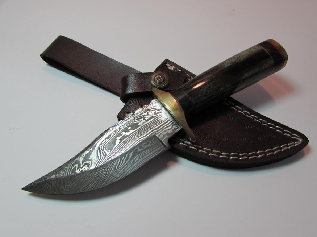 CUSTOM HAND MADE KNIFE BONE BRASS HORN LEATHER
