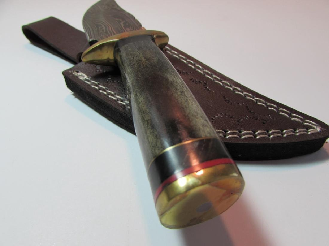 CUSTOM HAND MADE KNIFE BONE BRASS HORN LEATHER - 2