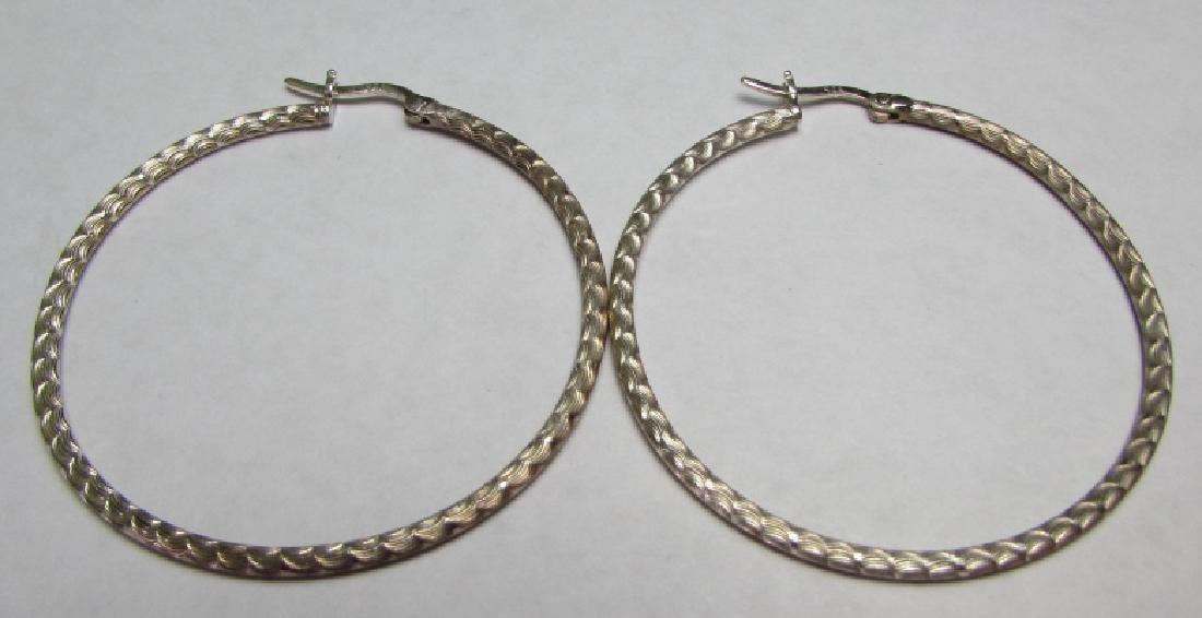 "2"" HOOP EARRINGS STERLING SILVER DIAMOND CUT"