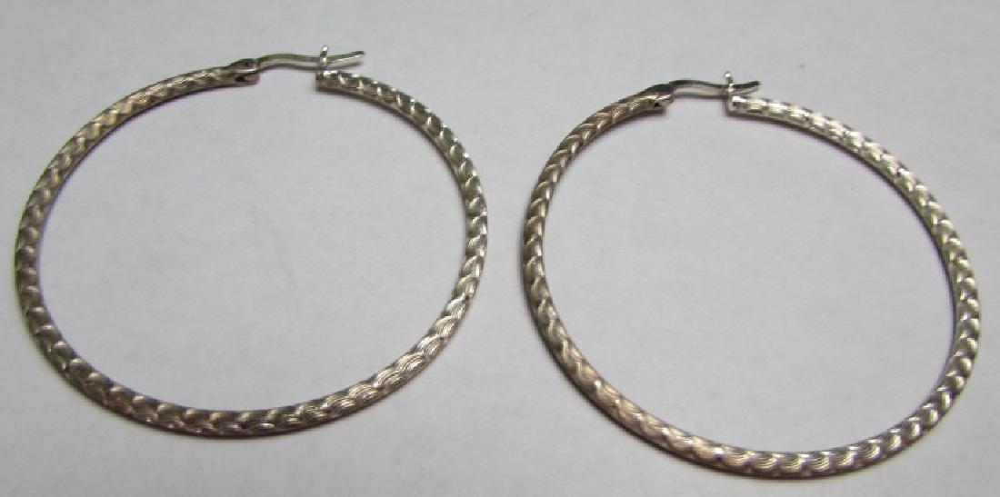 "2"" HOOP EARRINGS STERLING SILVER DIAMOND CUT - 2"
