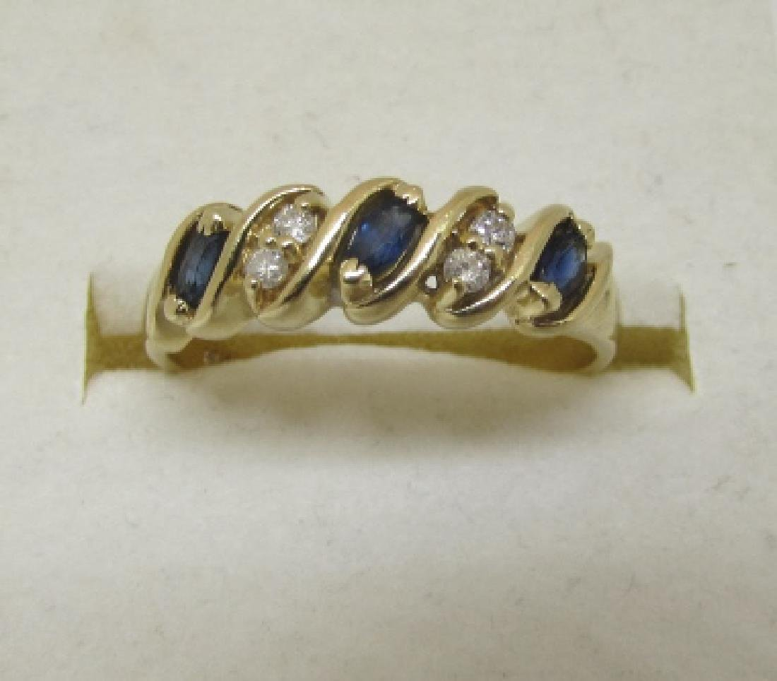 SAPPHIRE DIAMOND BAND RING 14K GOLD SIZE 9