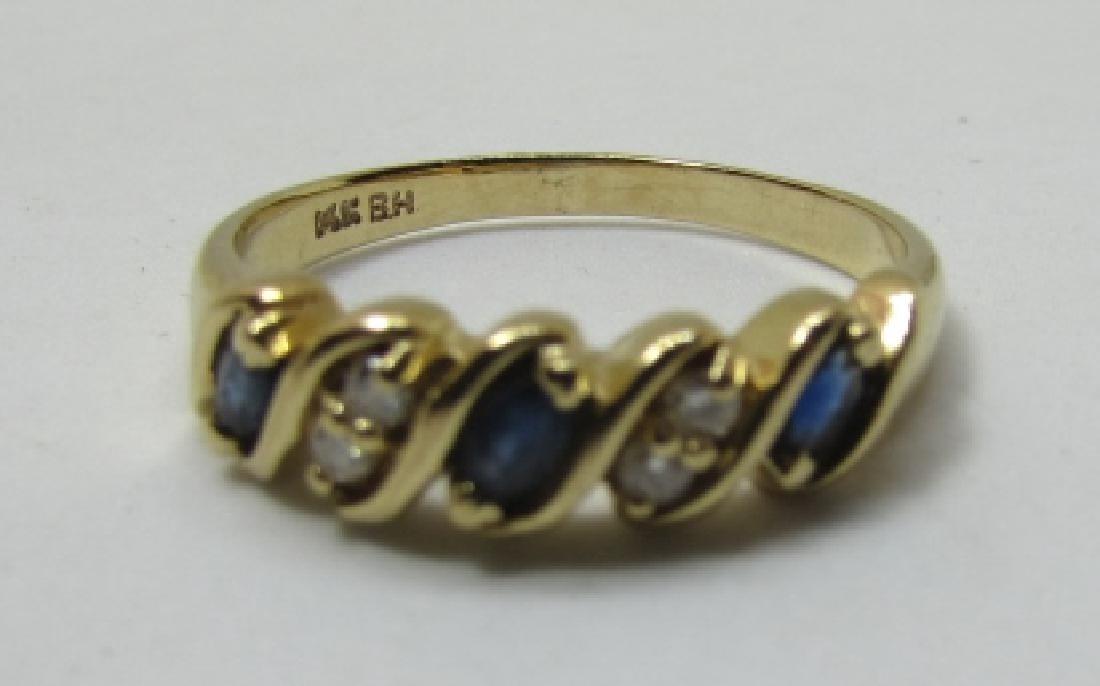 SAPPHIRE DIAMOND BAND RING 14K GOLD SIZE 9 - 2