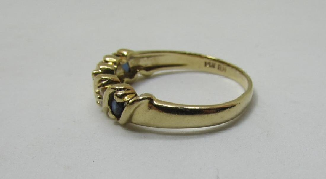 SAPPHIRE DIAMOND BAND RING 14K GOLD SIZE 9 - 3