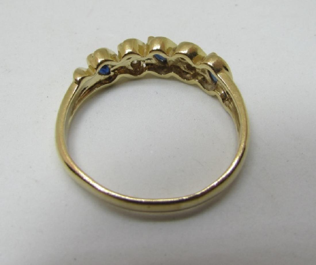 SAPPHIRE DIAMOND BAND RING 14K GOLD SIZE 9 - 4