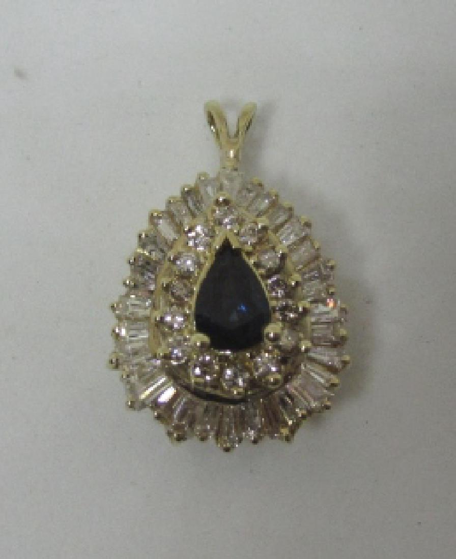 3CT SAPPHIRE DIAMOND NECKLACE PENDANT 14K GOLD