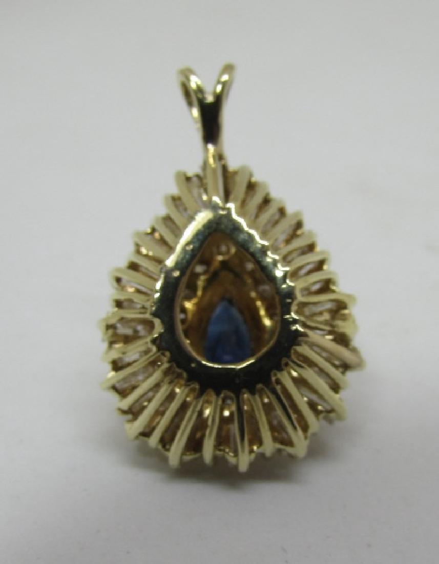 3CT SAPPHIRE DIAMOND NECKLACE PENDANT 14K GOLD - 3