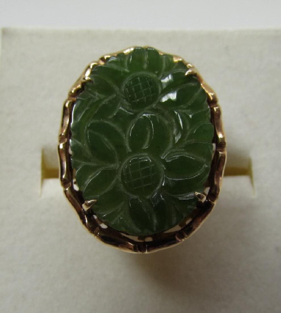 14K GOLD CARVED JADE RING 20 X 16 SIZE 7