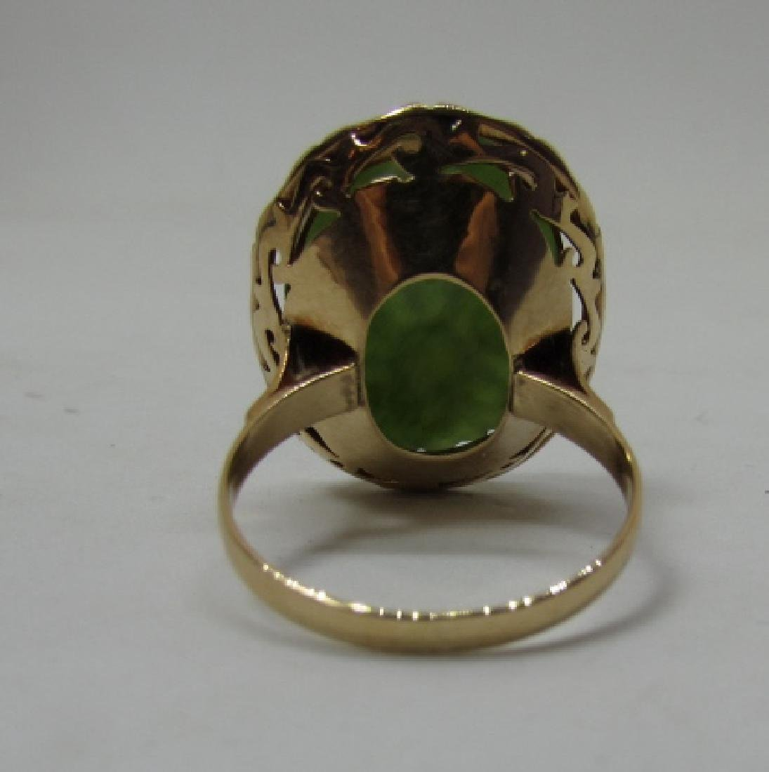 14K GOLD CARVED JADE RING 20 X 16 SIZE 7 - 2
