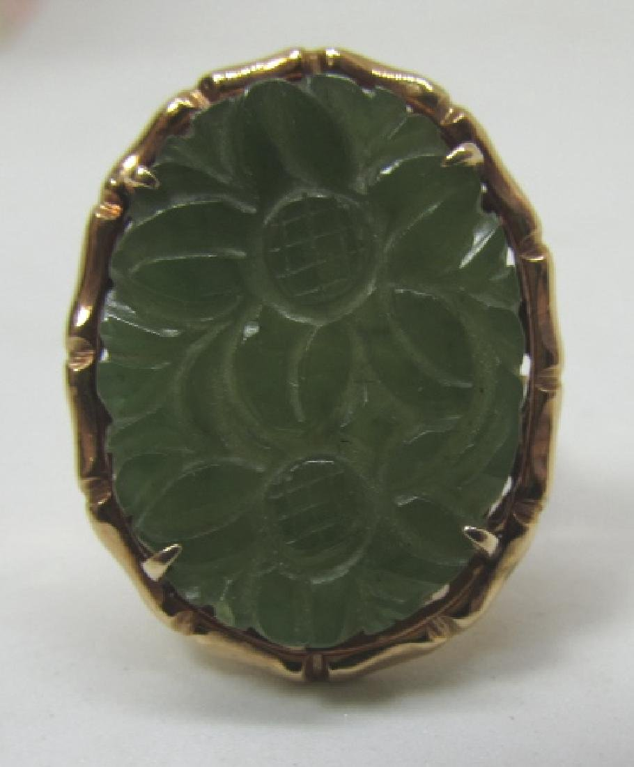 14K GOLD CARVED JADE RING 20 X 16 SIZE 7 - 4