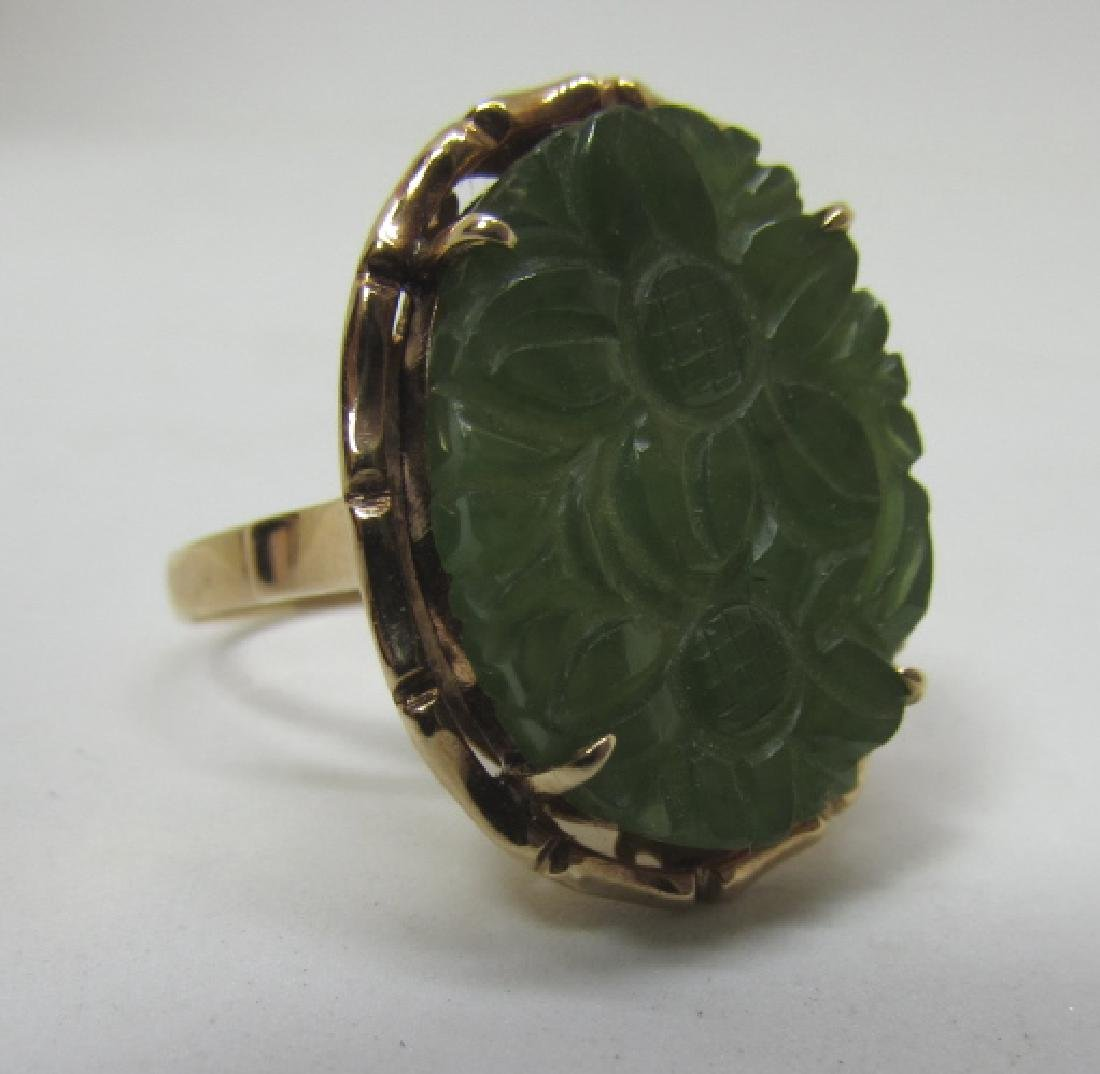 14K GOLD CARVED JADE RING 20 X 16 SIZE 7 - 5
