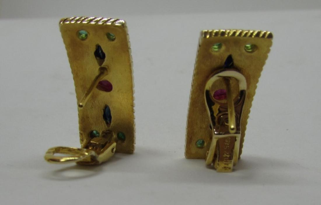 14K GOLD RUBY SAPPHIRE EMERALD EARRINGS 8.8GRAMS - 2