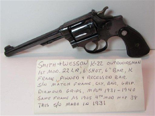S&W K-22 OUTDOORSMAN 1st MOD 22LR 6 SHOT K HANDGUN