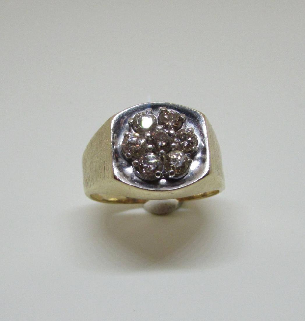 14k GOLD 3/4 CT SI3 DIAMOND RING LARGE MAN'S BARK