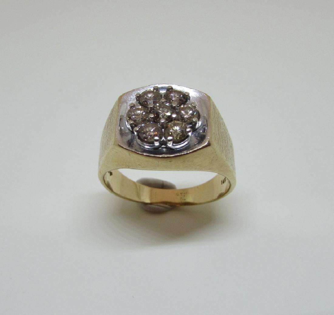 14k GOLD 3/4 CT SI3 DIAMOND RING LARGE MAN'S BARK - 2