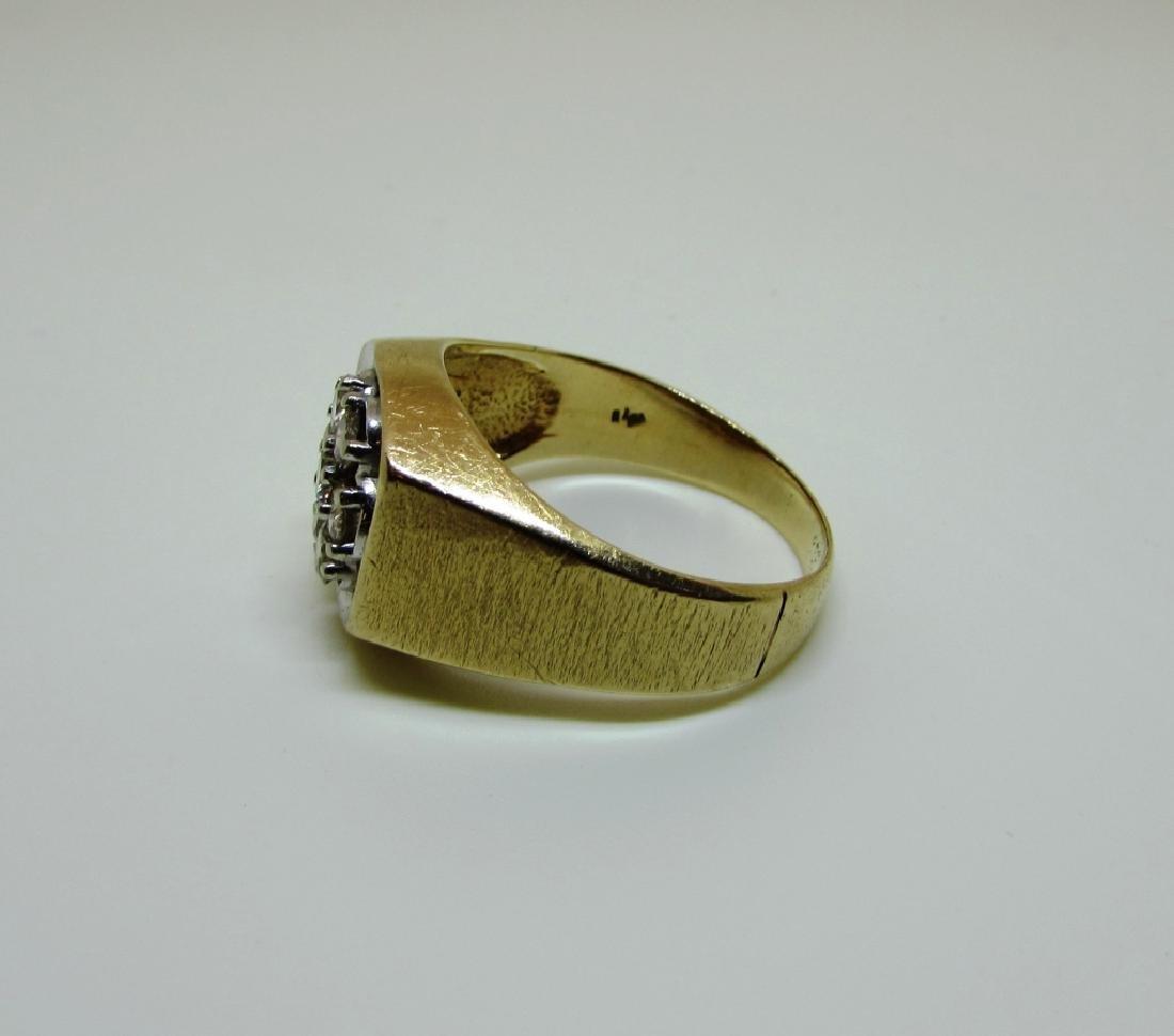 14k GOLD 3/4 CT SI3 DIAMOND RING LARGE MAN'S BARK - 5
