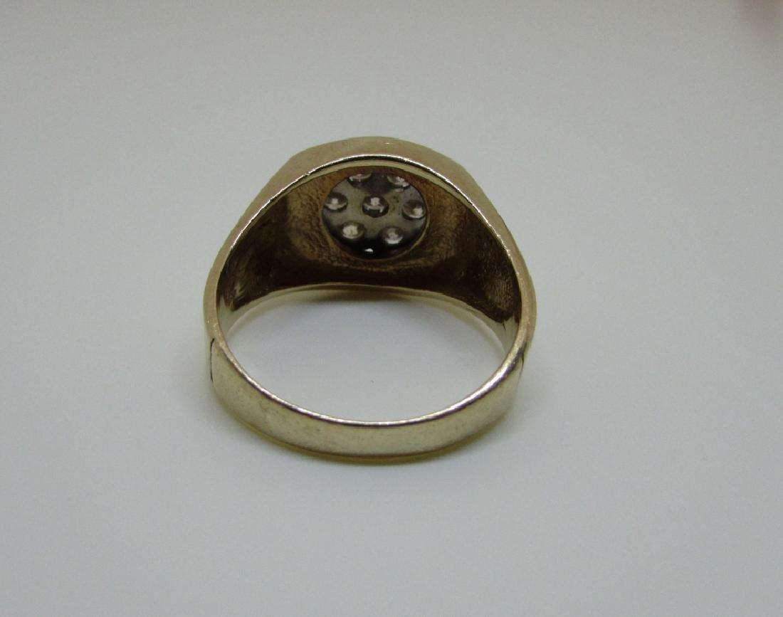 14k GOLD 3/4 CT SI3 DIAMOND RING LARGE MAN'S BARK - 6