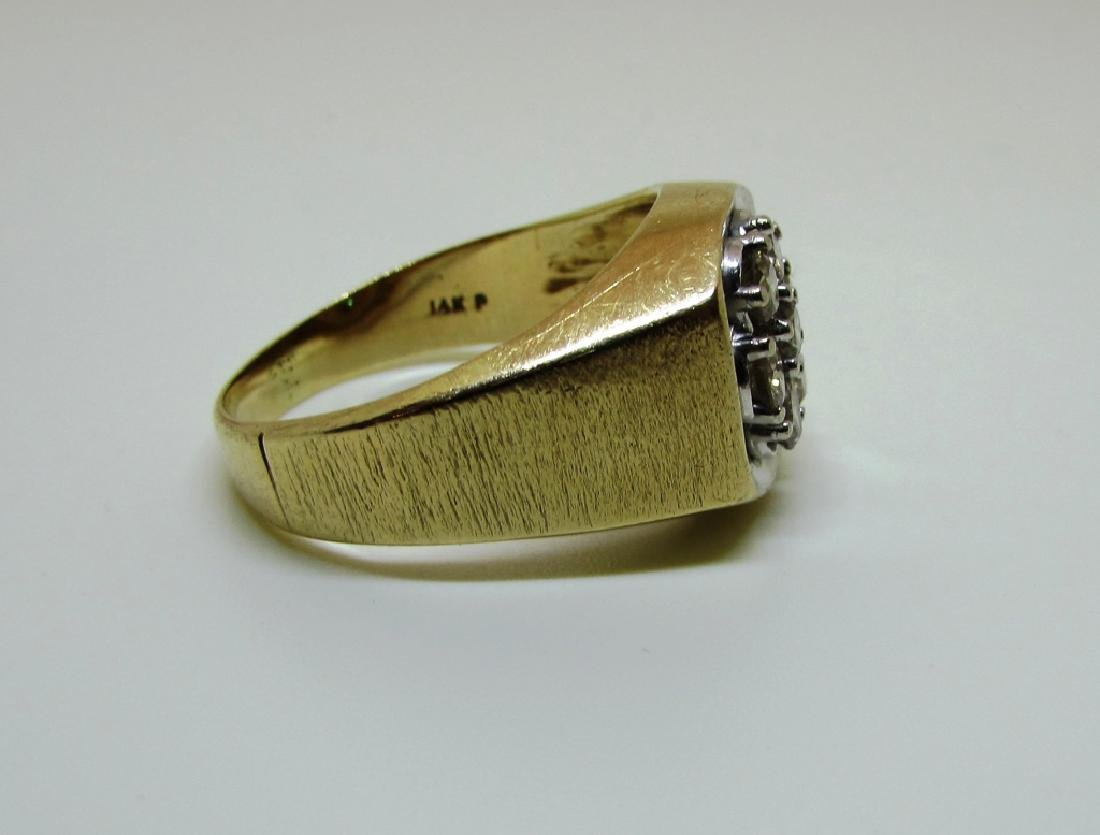 14k GOLD 3/4 CT SI3 DIAMOND RING LARGE MAN'S BARK - 7