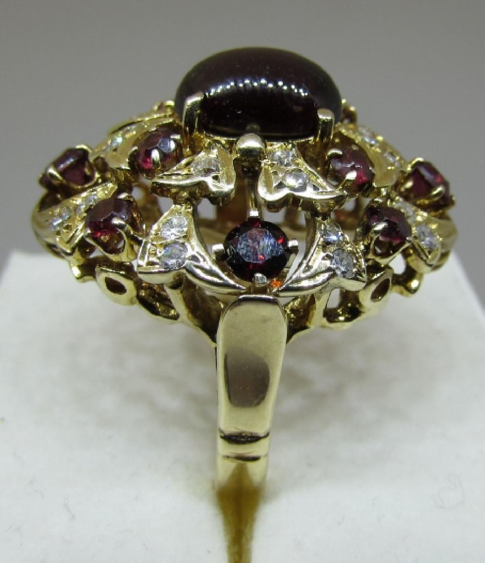 3.5C GARNET & .75C DIAMOND RING 14K GOLD 10 GRAMS - 2