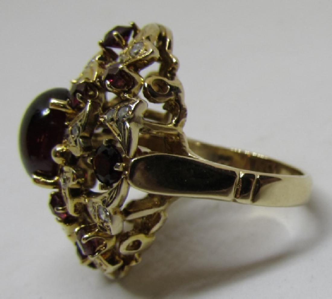 3.5C GARNET & .75C DIAMOND RING 14K GOLD 10 GRAMS - 3