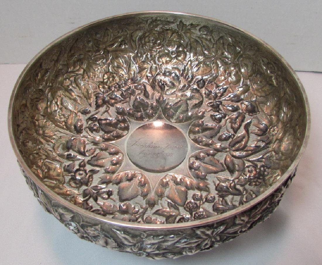 1881 WHITING STERLING SILVER BOWL REPOUSSE 677GRAM - 2