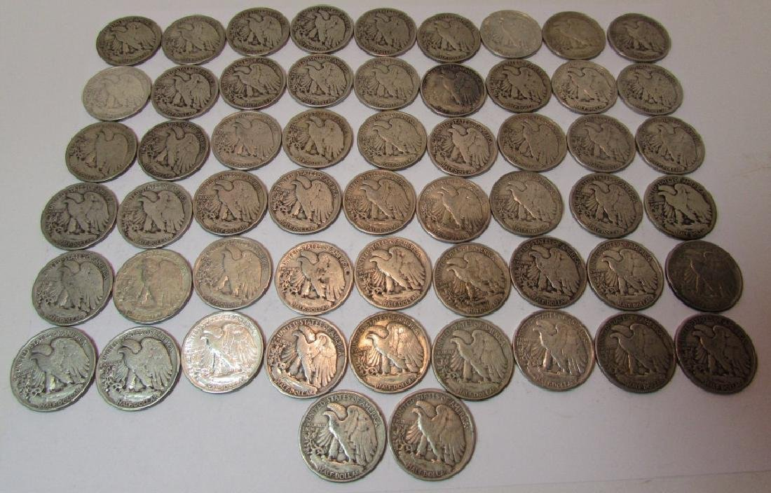 US WALKING LIBERTY SILVER HALF DOLLARS 56 PCS - 2