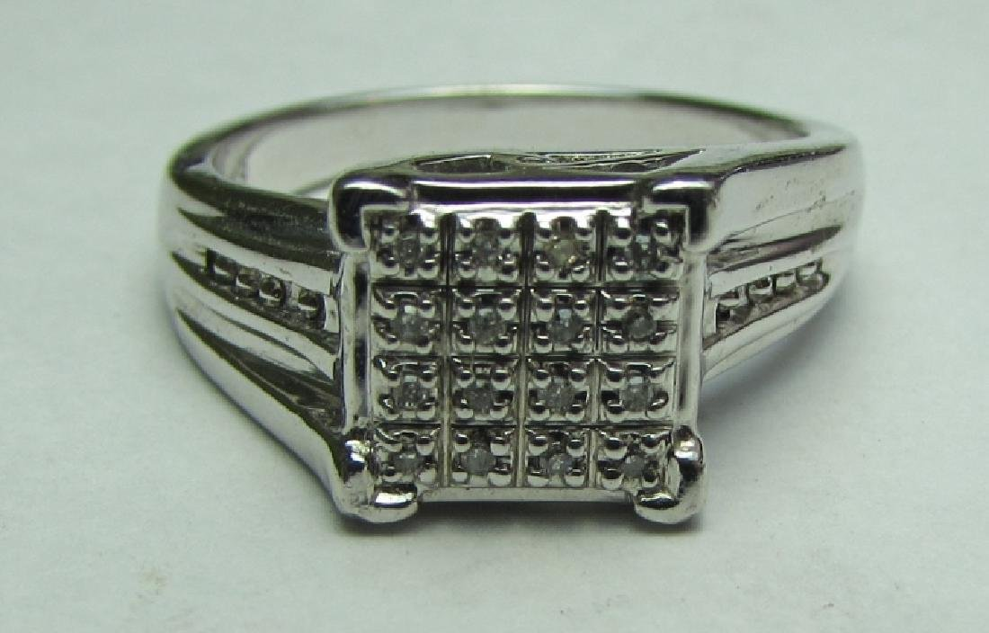 16 DIAMOND ENGAGEMENT RING STERLING SILVER SIZE 7