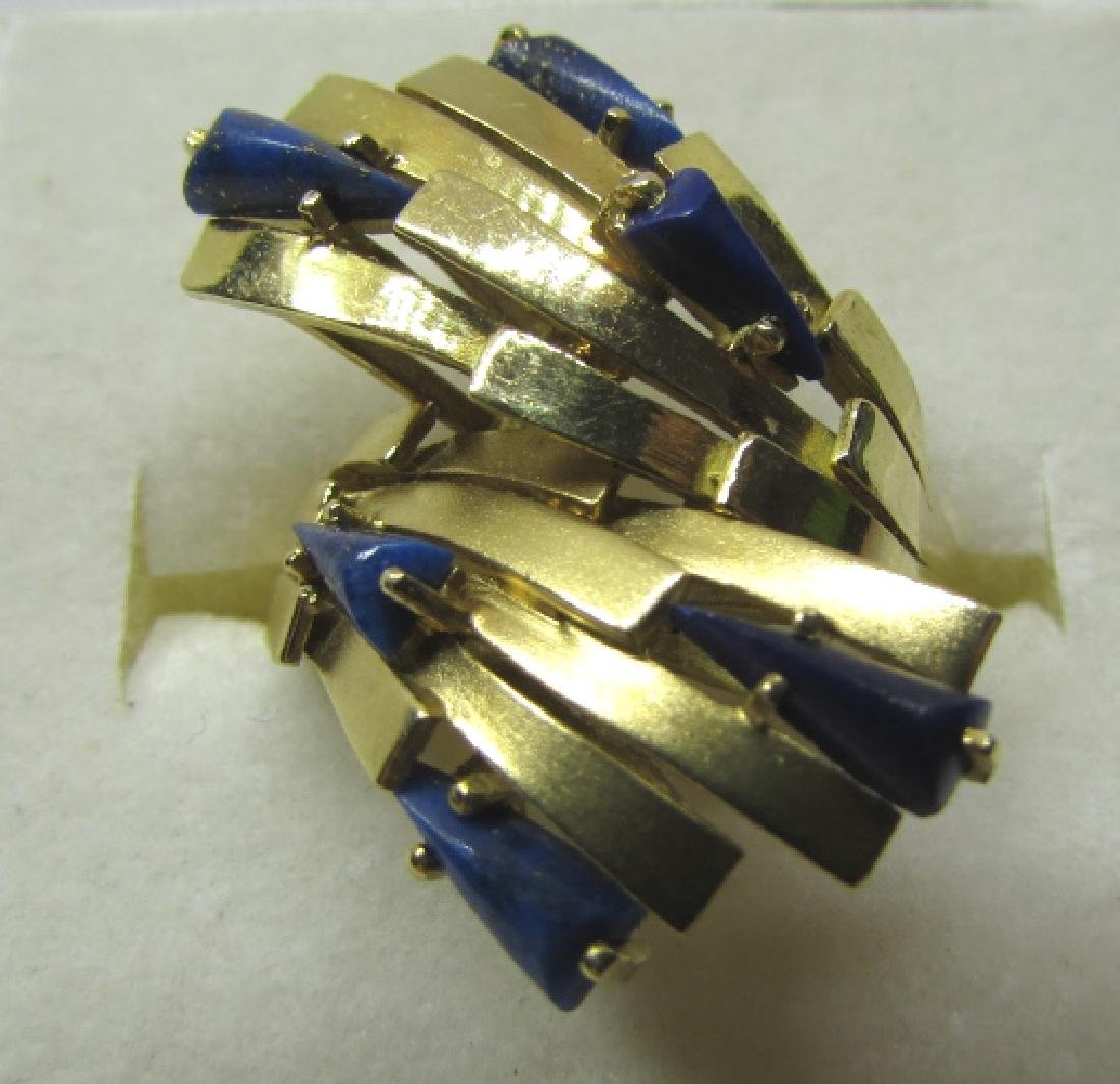 LAPIS LAZULI RING 18K GOLD 7.6 GRAMS SIZE 8 1/2