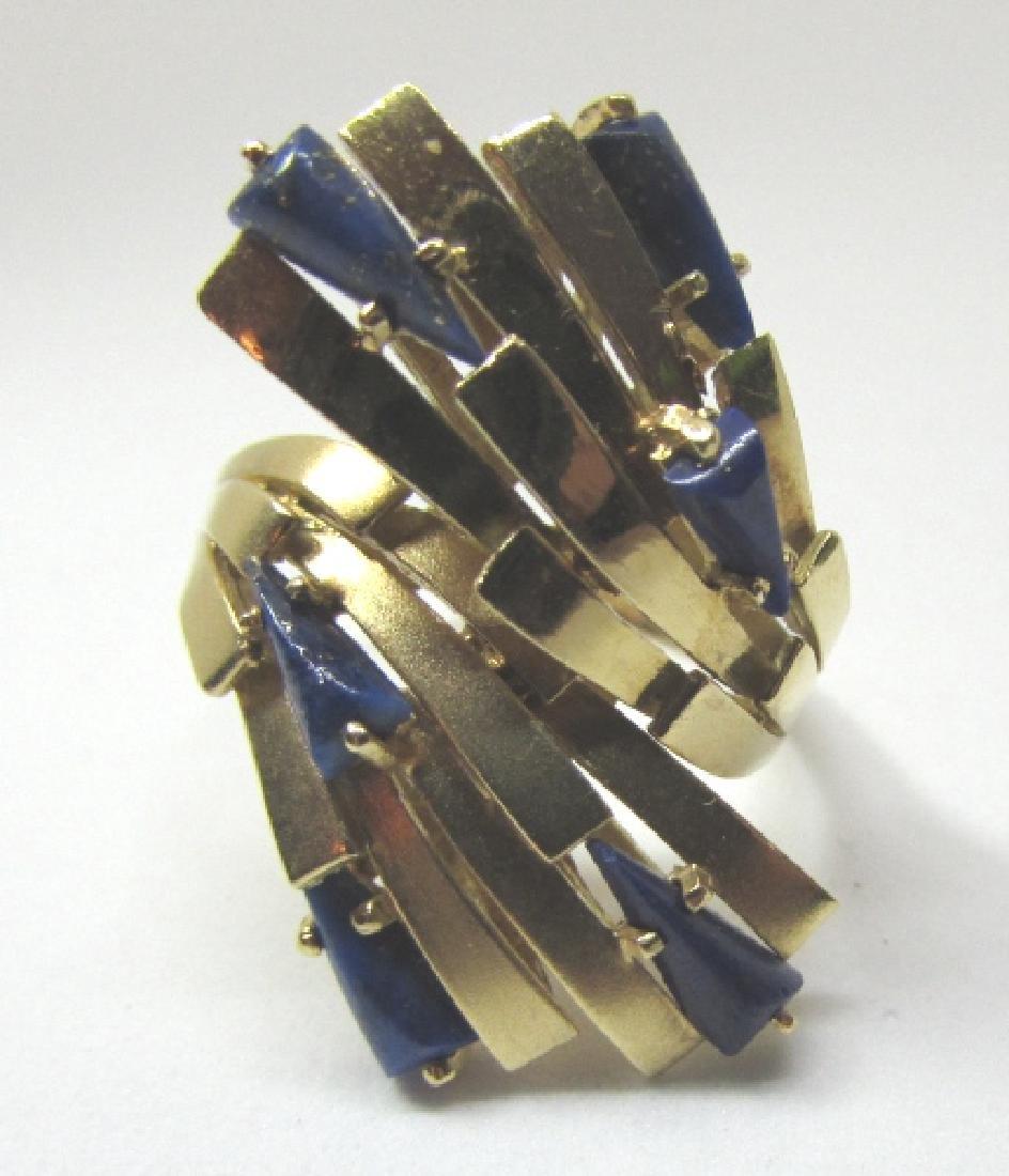 LAPIS LAZULI RING 18K GOLD 7.6 GRAMS SIZE 8 1/2 - 2