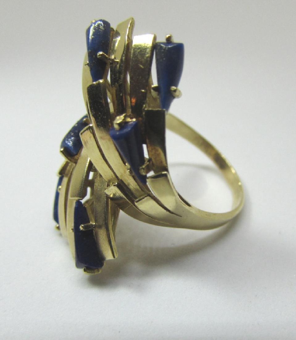 LAPIS LAZULI RING 18K GOLD 7.6 GRAMS SIZE 8 1/2 - 3