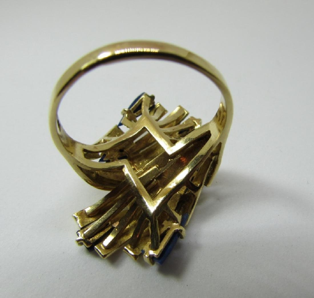 LAPIS LAZULI RING 18K GOLD 7.6 GRAMS SIZE 8 1/2 - 4