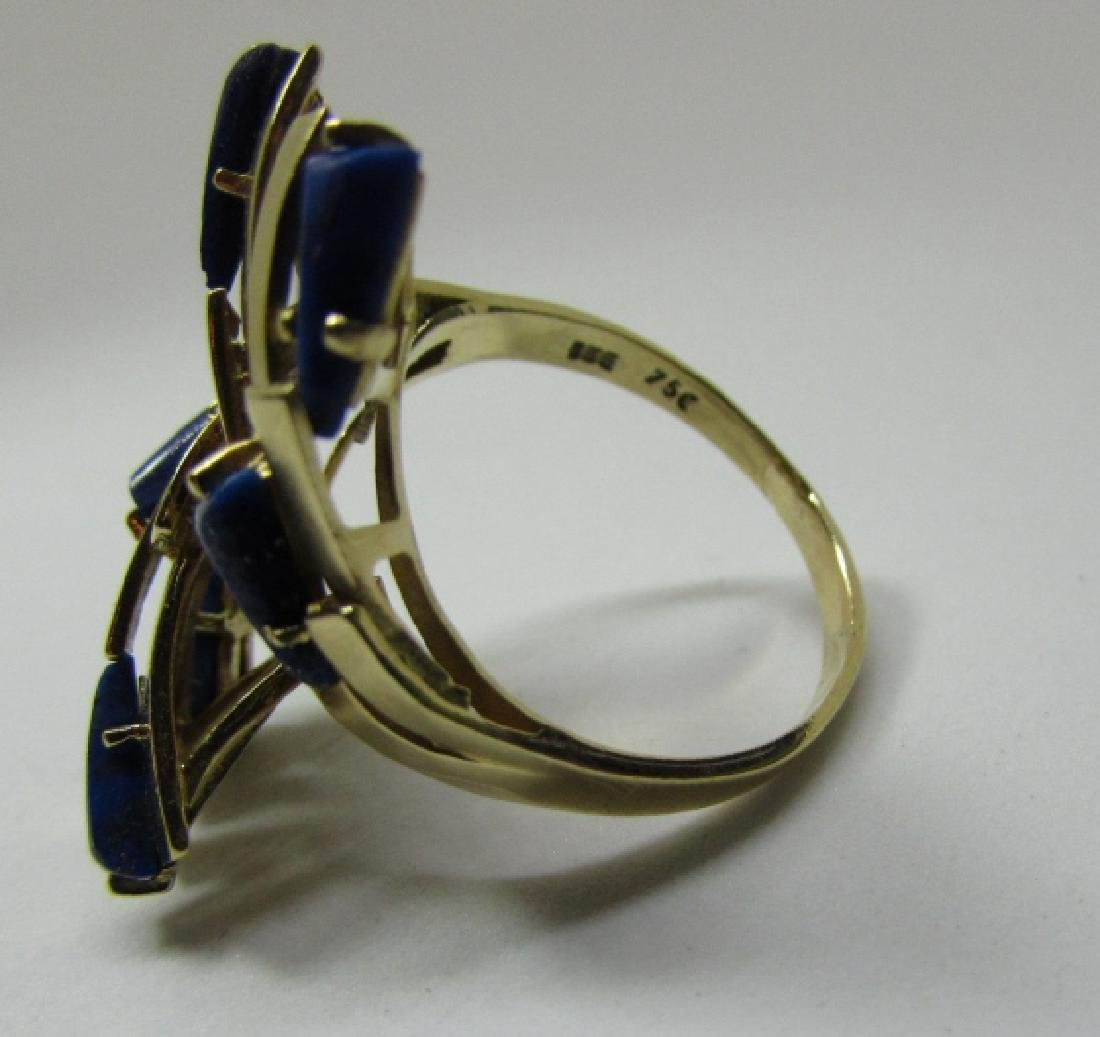 LAPIS LAZULI RING 18K GOLD 7.6 GRAMS SIZE 8 1/2 - 5
