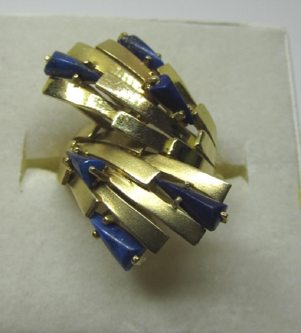 LAPIS LAZULI RING 18K GOLD 7.6 GRAMS SIZE 8 1/2 - 6