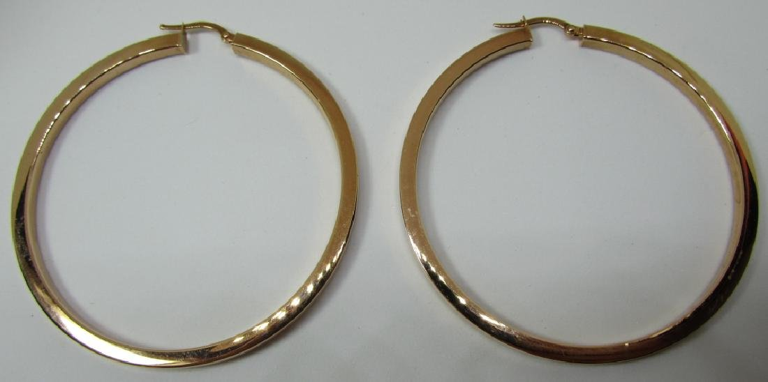 """HUGE 14K ROSE GOLD HOOP EARRINGS 5.3 GRAMS 2 1/2"""""""