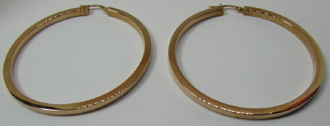 """HUGE 14K ROSE GOLD HOOP EARRINGS 5.3 GRAMS 2 1/2"""" - 2"""