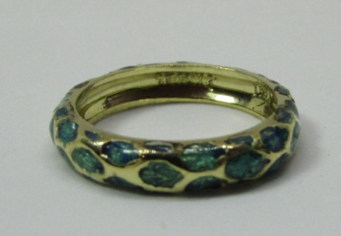 TIFFANY & CO 18K GOLD BAND RING BLUE ENAMEL SIZE 5