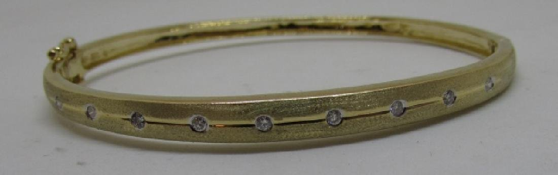 14K GOLD DIAMOND BANGLE BRACELET OPENS