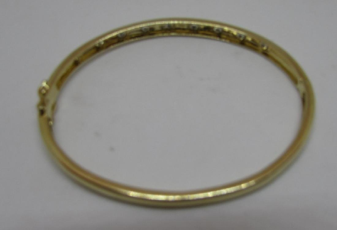 14K GOLD DIAMOND BANGLE BRACELET OPENS - 3