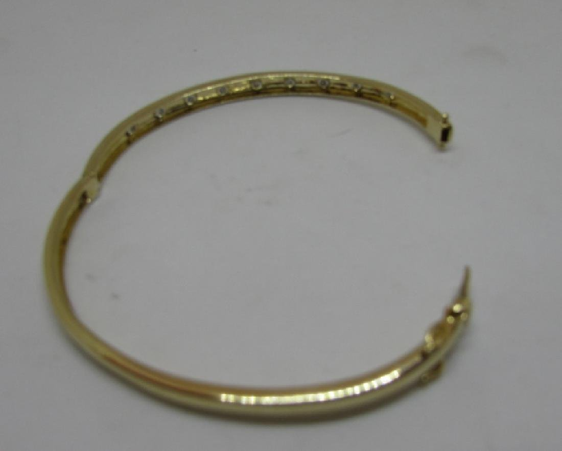 14K GOLD DIAMOND BANGLE BRACELET OPENS - 4