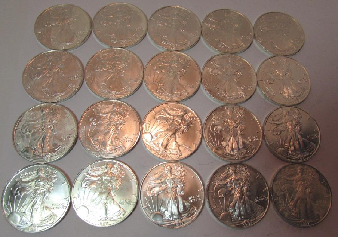 ROLL SILVER EAGLE COINS 20 PCS 1997