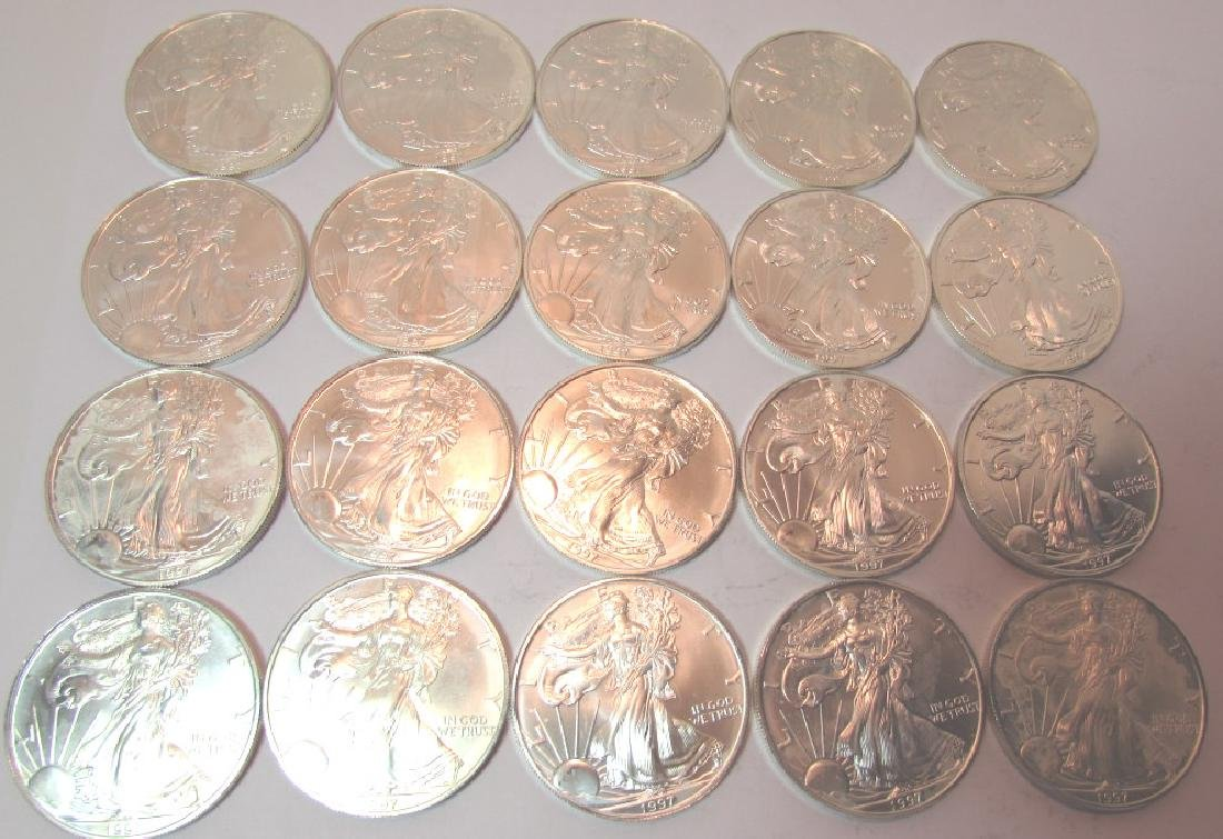 ROLL SILVER EAGLE COINS 20 PCS 1997 - 2