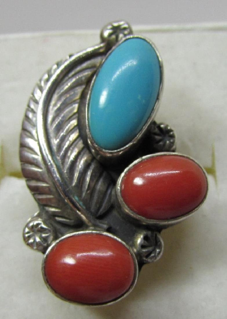 TURQUOISE CORAL RING STERLING SILVER SIZE 8 1/2