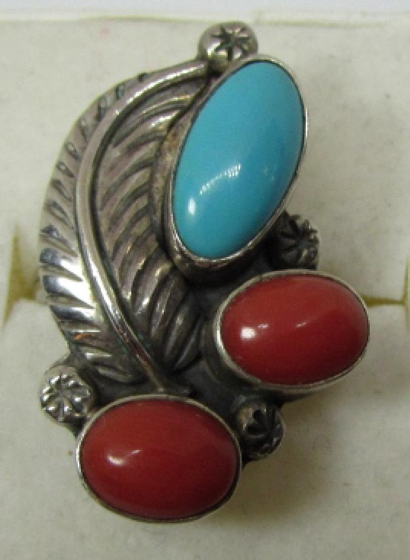 TURQUOISE CORAL RING STERLING SILVER SIZE 8 1/2 - 5