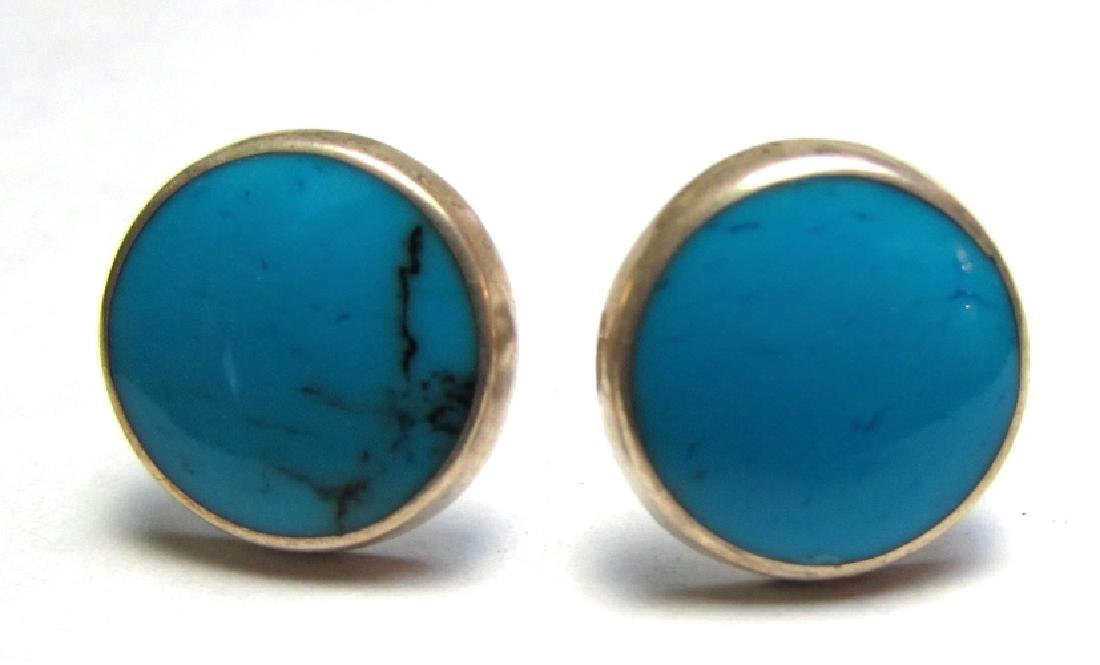 TURQUOISE EARRINGS STERLING SILVER NATIVE AMERICAN