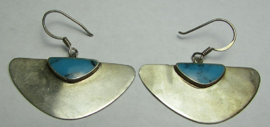 TURQUOISE EARRINGS STERLING SILVER INLAID