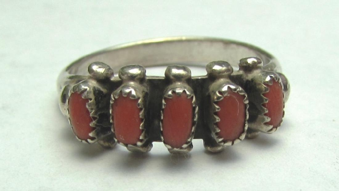 CORAL RING STERLING SILVER OLD PAWN NATIVE AMERICA
